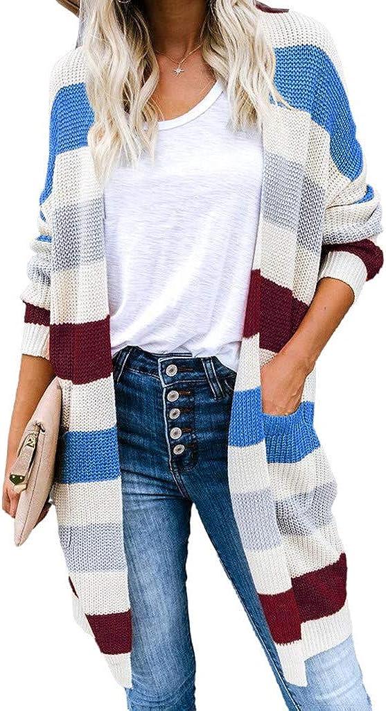 Vickyleb Sweaters for Women Women's Rare Colorblock Long Sleeves Open Nippon regular agency