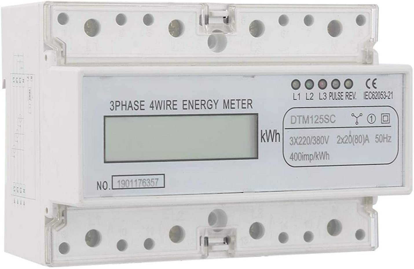 Medidor de potencia eléctrica, medidor de potencia, consumo de energía práctico con LCD Circuito integrado grande duradero 220 / 380V 20-80A para conexión directa Nivel 1 Precisión