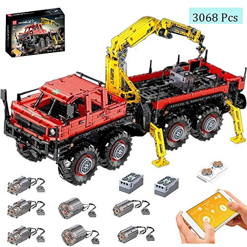 LODIY Technik Abschleppwagen Bausteine, 3068 Teile Technik LKW Abschlepper Kranwagen mit Ferngesteuert und 7 Motor, Kompatibel mit Lego