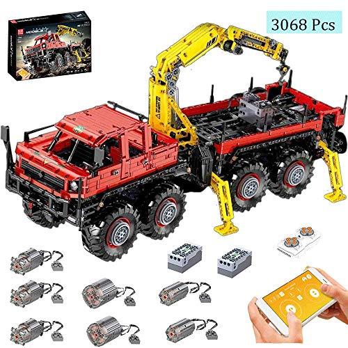 LODIY Technik Kranwagen Bausteine Ferngesteuert mit 7 Motor - 3068 Teile Technik LKW Kran Klemmbausteine Modellbau Kompatibel mit Lego