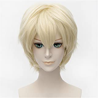 Flovex Short Straight Anime Cosplay Wigs Natural Sexy Costume Party Daily Hair (Blonde 1)
