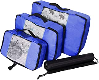 Waterproof Travel Storage Bags Luggage Organizer Pouch Packing Cube Clothing Sorting Packages Pack of 4pcs Blue
