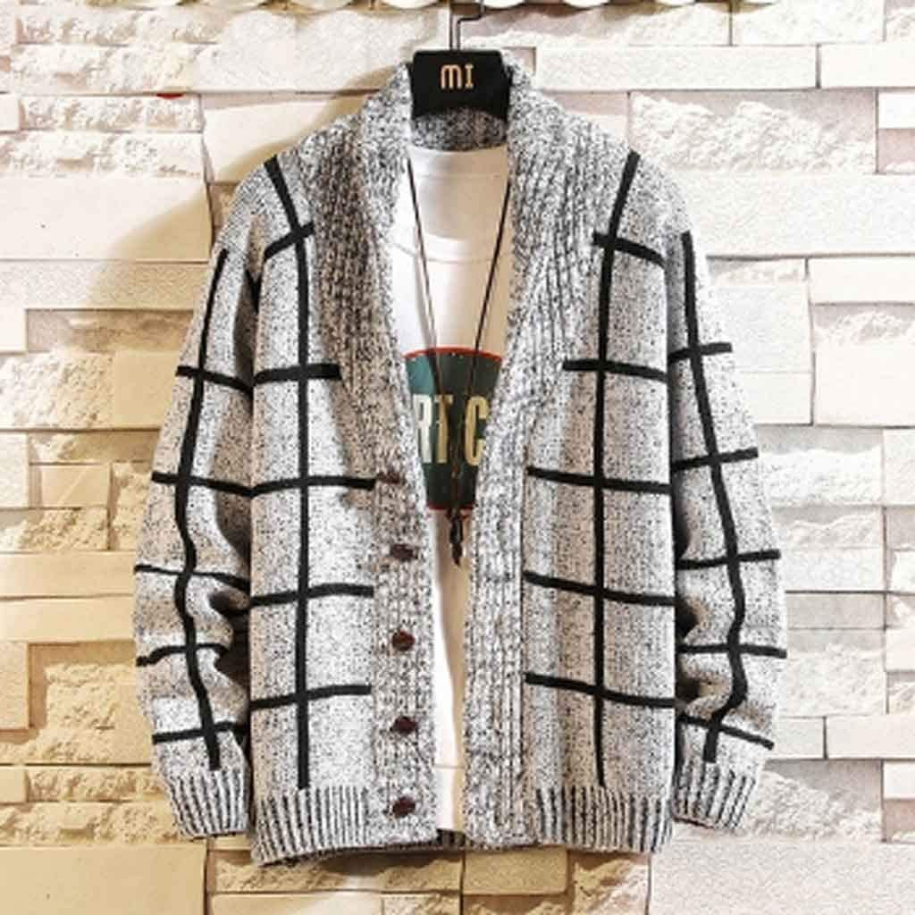 ZYING Autumn Striped Thick Knit Cardigan Men Slim Fit Knitted Sweater Men Winter Men's Winter Sweater Korean Knitwear (Color : B, Size : M Code)
