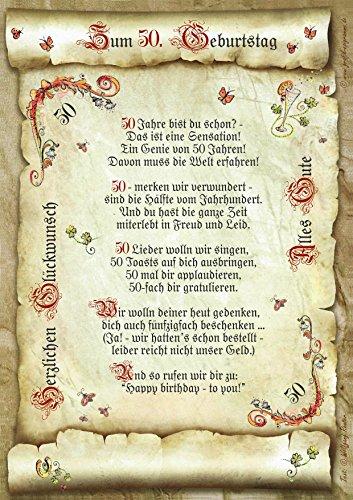 Die Staffelei 50. Geburtstag Geschenk-Urkunde mit Gedicht