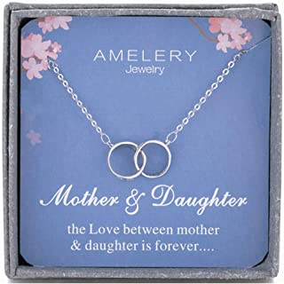 Mother Daughter Necklace Sterling Silver Two Interlocking Infinity Double 2 Circles CZ Crystal Pendants, Mothers Day Jewelry Birthday Gifts Mom for Women