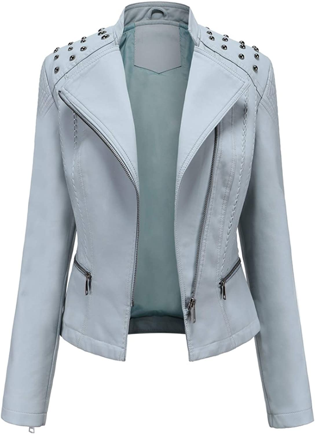 Women's Faux Leather Biker Jacket Up Zip Motorcy Studded Fashion Ranking Max 75% OFF TOP8