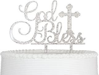 Qttier God Bless Cake Topper for Baptism Christening Dedication or First Communion Baby Shower Decoration Supplies Acrylic Sign Decor ( Silver )