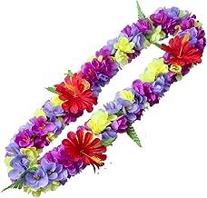 LAYSERI Hawaiian Luau Flower Leis Jumbo Necklace Bracelets Headband Set Mahalo Floral Leis (Necklace Style 2)