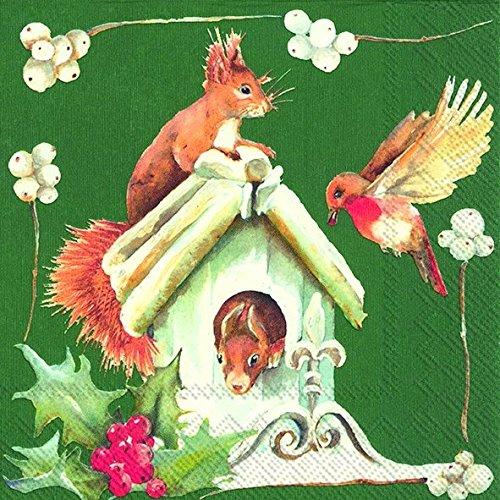 SURPRISING VISIT groene Eekhoorn Vogel Kerstmis Luncheon Papier Tafelservetten 20 in een verpakking 33cm vierkant