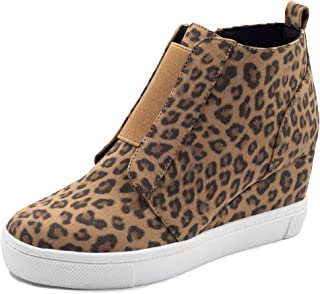 XMWEALTHY Women's Wedges Sneakers Heel Comfy Perforated Wedgie High Heel Shoes Casual Fashion Sneakers