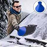 Ice Scraper Auto, Car Windscreen Ice Shaped Multi-Function Cone Fueling Funnel Snow Shovel Magic Snow Wipe Brush Snow Remover Car Tool winter Ideal tool for trucks, vans and SUV (Blue)