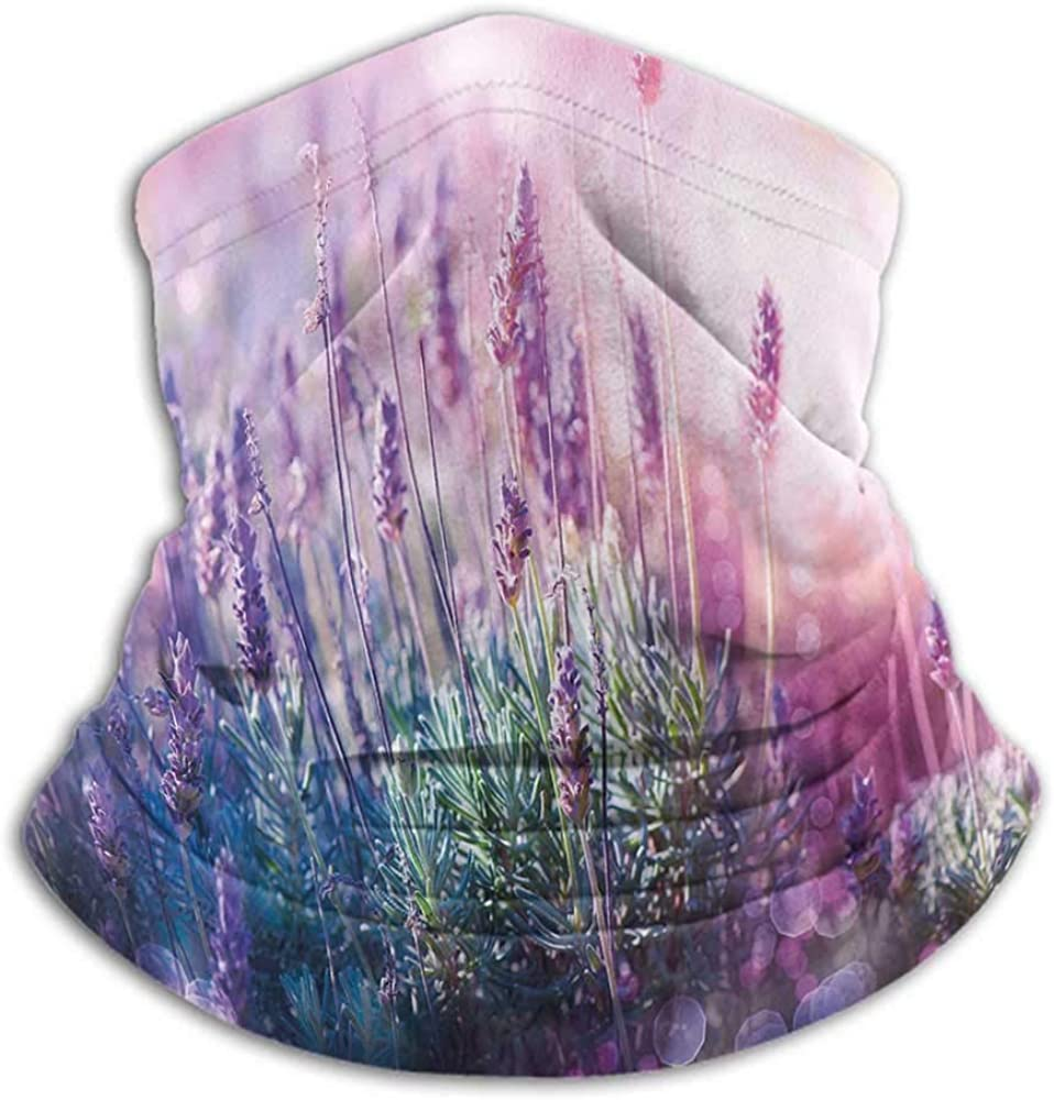 Neck Gaiter Lavender For Running, Skiing, Snowboarding Fantasy Dreamlike Herbal Meadow Close Up View Magical Nature Theme Teal Light Pink Lilac