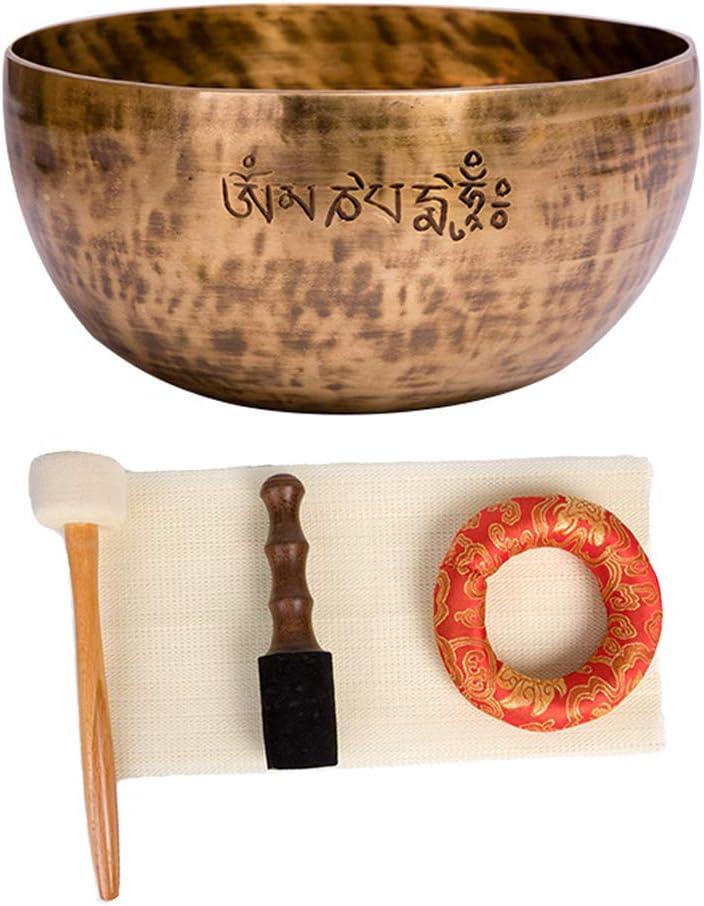 UUK 20 cm Grandes Juego de Cuencos de Luna Llena para meditación tibetana con Palos de Fieltro, cojín, mazo de Madera, 7 Metales, Cuencos Profesionales con Sonido OM, para Yoga, meditación