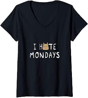 Womens I Hate Mondays - Sarcastic Cat V-Neck T-Shirt