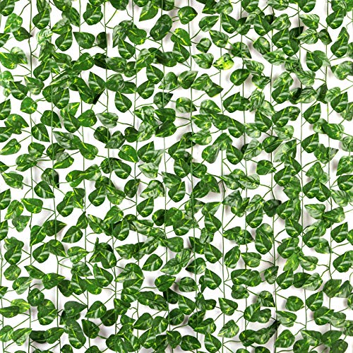CQURE 14 Pack 98Ft Artificial Ivy Garland,Vines Garland Fake Ivy vine Ivy Garland Artificial UV Resistant Green Leaves Fake Plants Hanging Vine Plant for Wedding Party Garden Wall Decoration