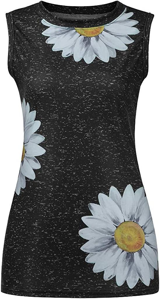 fesfesfes Sunflower Tank Tops for Women Summer Cute Sleeveless Tops Casual Tee Crewneck Tunic Shirt Loose Blouse.S-5XL