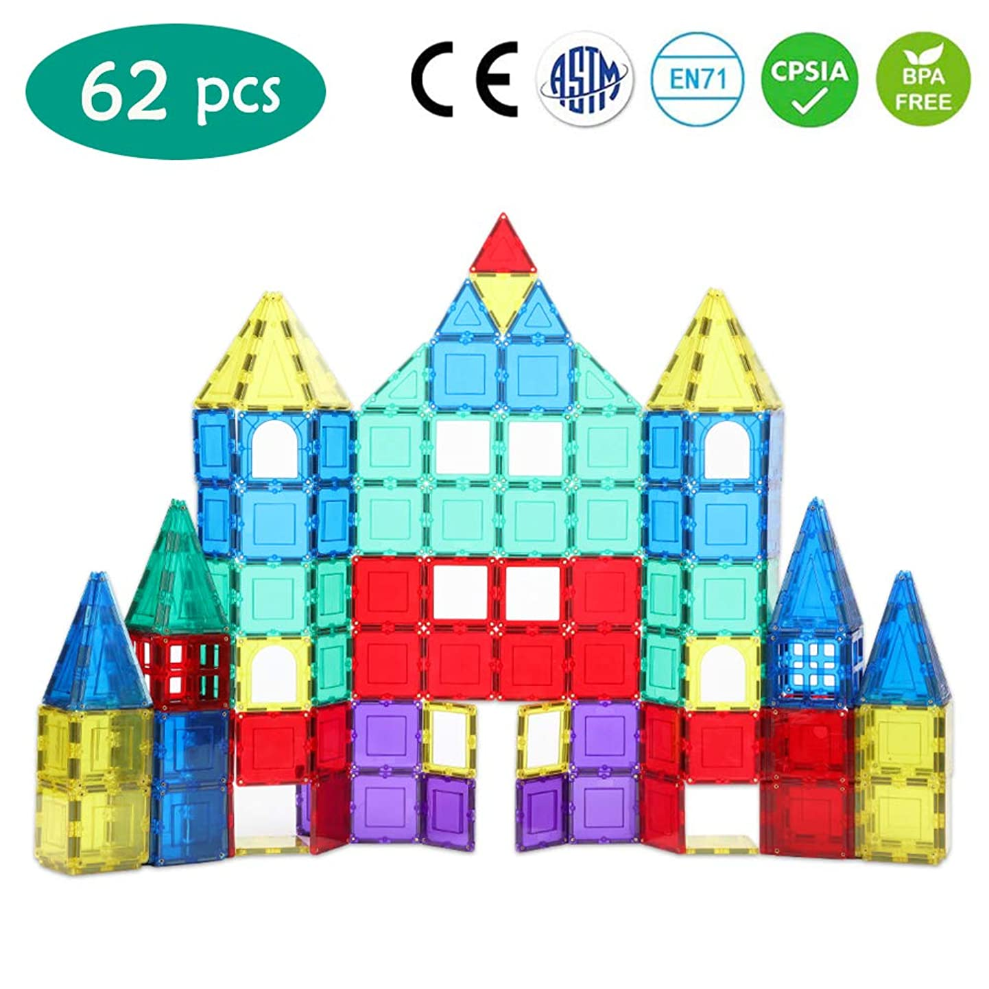 BO WEI Magnet Toys 62 pcs 3D Magnetic Building Blocks Set, STEM Magnetic Tiles Educational Toys for Toddlers | Creativity, Imagination, Inspiration mjzazcawejr9
