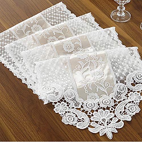 Camino de mesa de encaje exquisita tela de encaje con bordado vintage hecho a mano, perfecto para decoración de bodas, fiestas de café