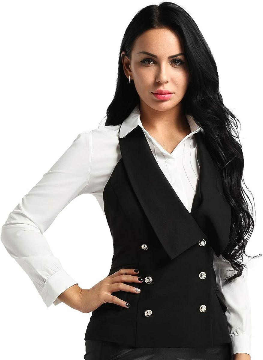 winying Womens Slim Fit Vest Halter V-Neckline Sleeveless Backless Button Down Formal Business Dressy Suit Waistcoat