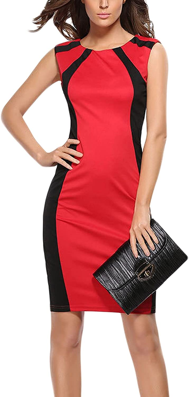 Nimpansa Women Formal Sleeveless Colorblock Mini Bodycon Pencil Work Dress