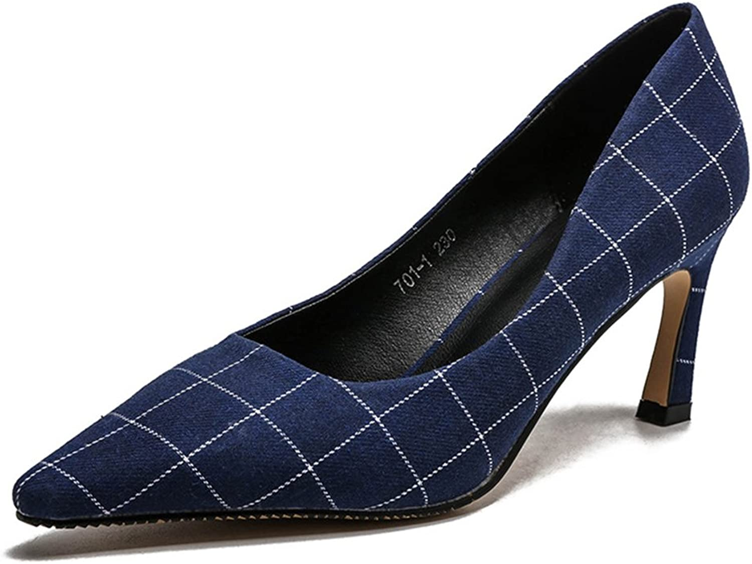 TUYPSHOES Women Pointed Toe Pumps Stiletto Heels Plaid Slingback shoes
