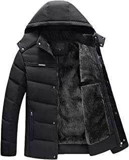 Clearance Sale! Caopixx Jackets for Men's Plus Size Warm Velvet Thick Zipper Casual Coat Outwear Hooded