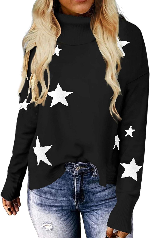 ZKESS Womens Turtleneck Sweaters Pullover Casual Long Sleeve Chunky Knit Sweater Winter Warm Jumper Sweater Plus Size XXL Star Print Black