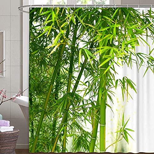 MundW DAS DESIGN Duschvorhang Bambus Textil Vorhang grün exotisch Bambus-Baum-Wald Schimmelresistent Bambusblatt Farbefest inkl. 12 C-Ringe Gewicht unten 180x200cm(BxH)