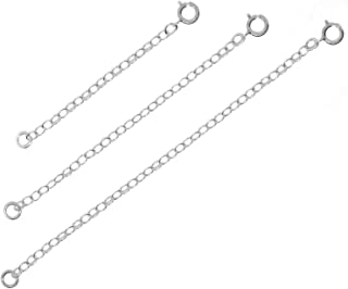 Necklace Extender for Women - 925 Sterling Silver, 14K Gold Filled, Fully Adjustable Chain, Delicate Durable Strong Lightweight Removable, Made in USA, Set of 3