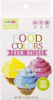 ColorKitchen Food Color Set of 3 (Pink, Blue, Yellow), .24 ounce, Food Coloring made with Plant-Based Ingredients and Natu...