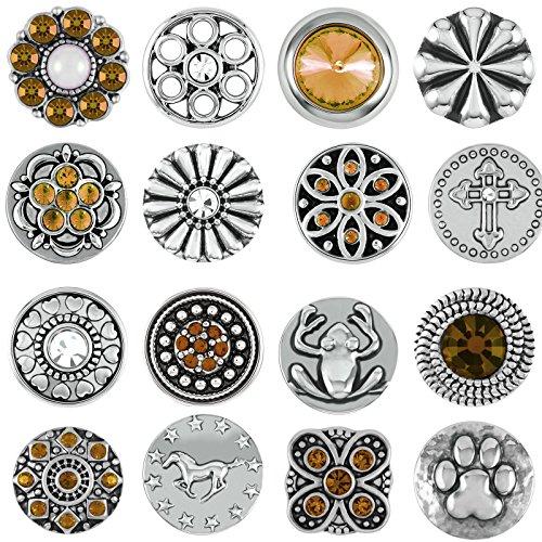 Akkki Mini Small Button Druckknopf 12er Set Knopf Petit Klick Armband kompatibel mit Chunks Silber Farben auswahl Schmuck braun