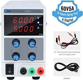DC Power Supply Variable 60V/5A Switching Regulated 4-Digital Power Supply Single-Output 110V/220V, with Alligator Leads, US Power Cord