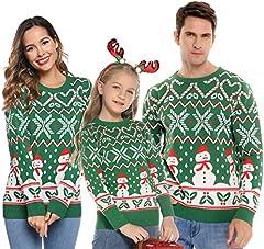 Abollria Suéter De Navidad Mujer Pullover Jersey De Punto para Mujer con Cuello Redondo