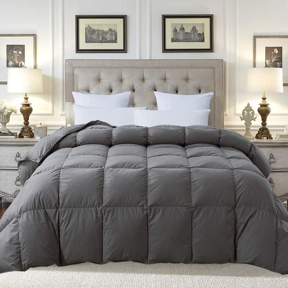 Cosybay 100% Cotton Quilted Down Comforter Grey Goose Duck Down and Feather Filling – All Season Duvet Insert or Stand-Alone – Twin/Twin XL Size