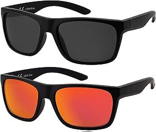 La Optica B.L.M. - La Optica Gafas de Sol LO8 UV400 Deportivas da Hombre y Mujer, Mate Negro (Lentes: 1 x Gris, 1 x rojo espejada)
