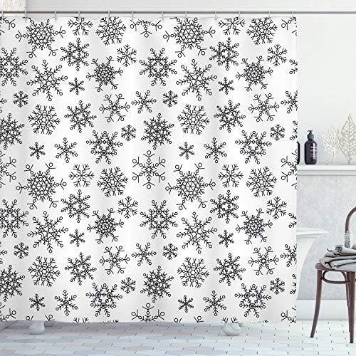 ABAKUHAUS Sneeuwvlok Douchegordijn, Line Wintermotieven, stoffen badkamerdecoratieset met haakjes, 175 x 180 cm, Zwart wit