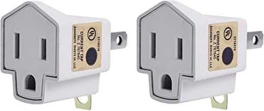 UL Listed 3-Prong to 2-Prong Adapter Grounding Converter - JACKYLED 3-Prong Adapter Converter Fireproof Material 200℃ Resistant Heavy Duty for Wall Outlets Household 2-pack
