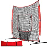 Kapler Baseball Softball Practice Net for Pitching Hitting Batting Training, 7X7FT Baseball Softball Training Pitching Target with A Carry Bag for Any Level Player Outdoor Indoor Uses.