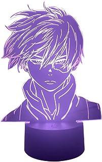 Boku no Hero Academia Luz de Noche Shoto Todoroki Anime Light My Hero Academia Lámpara de ilusión 3D Luces de Noche Que cambian de Color LED Lámpara de Mesa para decoración del hogar Regalo