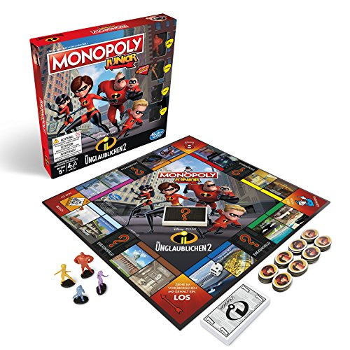 Hasbro Gaming E1781100 2 Monopoly Junior-Die Unglaublichen, Kinderspiel