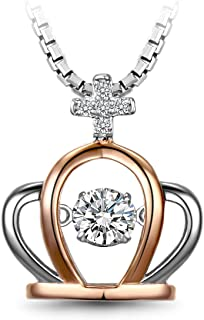 T400 925 Sterling Silver Dancing Stone Heart Pendant Necklace Made With Swarovski Cubic Zirconia Love Gift
