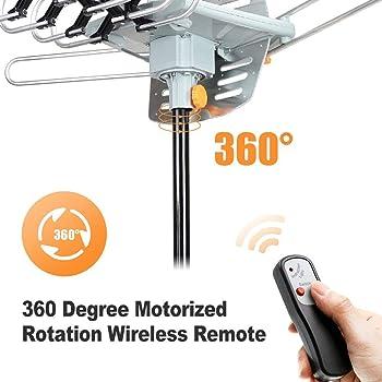Digital Amplified Outdoor HD TV Antenna 150 Miles Range,360 Degree Rotation Antenna Support 2 TVs Receive HD 4K 1080P...