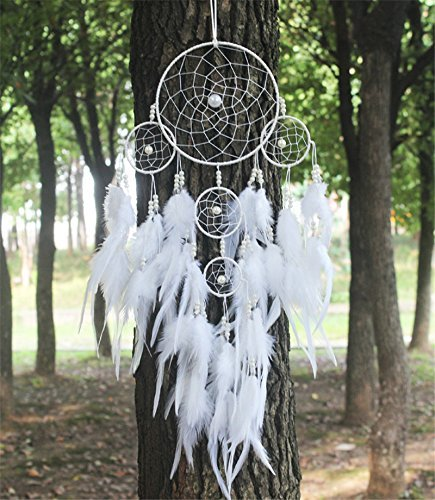 Big Hot artística colgante dream catcher plumas de Atrapasueños Wind Chimes Diseño Indio perla blanco regalo