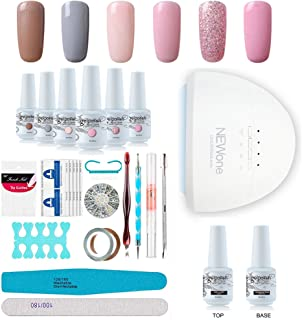 Gel Nail Polish Starter Kit, Speed Curing 48W Professional LED lamp Base Top Coat Set & 6 Colors, Manicure Tools Popular Nail Art Designs by Vishine #C004