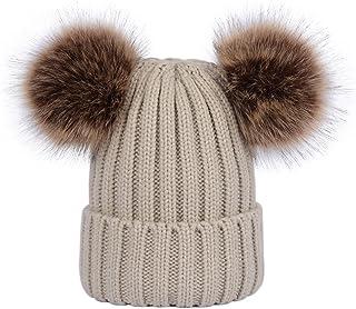 LAUSONS Gorros de punto para mujer con dos pompones de piel sintética sombreros tejidos de invierno