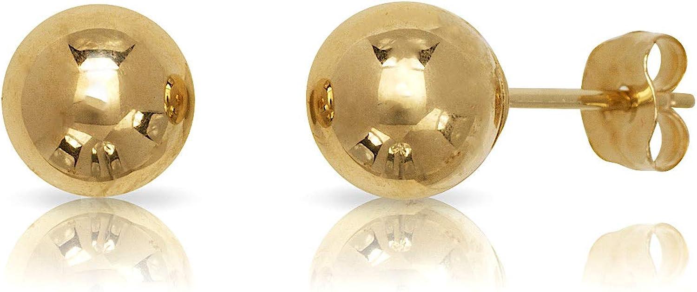 14k Yellow Gold Ball Stud Earrings Pushback 3 4 5 6 7 8 MM