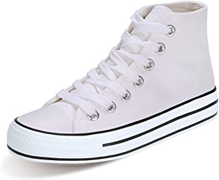 KUNSHOP Unisex Canvas High Tops Sneakers Fashion Casual Lace up Canvas Shoes for Women Men