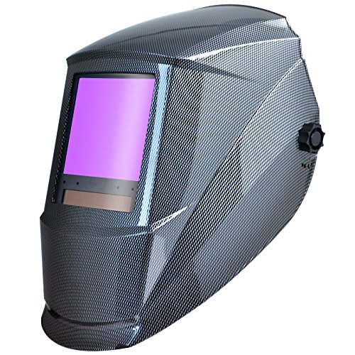 "Antra AH7-860-001X Auto Darkening Welding Helmet Huge Viewing Size 3.86X3.5"" Wide Shade Range 4/5-13 Great for TIG MIG/MAG MMA Plasma, Grinding, Solar-Lithium Dual Power, 6+1 Extra Lens Covers"