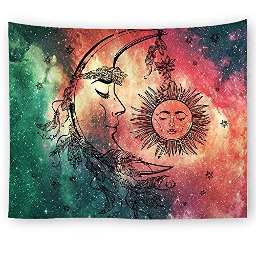 Bdhbeq Tapiz Indio Mandala Cielo Estrellado impresión Colgante de Pared Tapiz Grande Sol Luna decoración de la Pared Accesorios de decoración del hogar