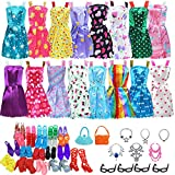BJDBUS 32 pcs Doll Clothes and Accessories Including 10 pcs Fashion Mini Dresses 22 pcs Shoes, Glasses, Necklaces, Handbag Accessories for 11.5 Inch Girl Doll